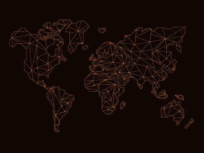 World Map Orange 3