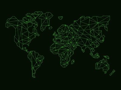 World Map Green Wire