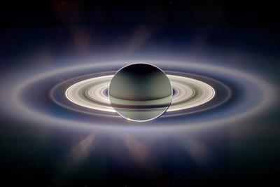 Saturn Silhouetted, Cassini Image