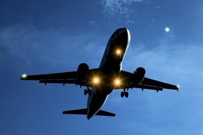 Airbus A320 Airliner Landing At Night