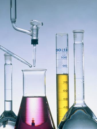 Different flasks with fluids
