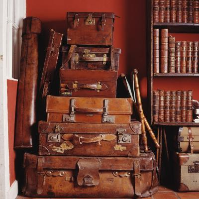 Stack of Antique Leather Suitcases