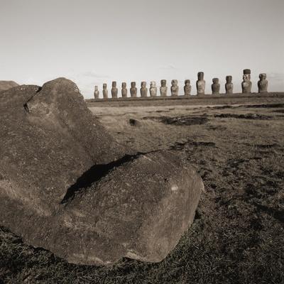 Row of Moai statues, Easter Island, Chile