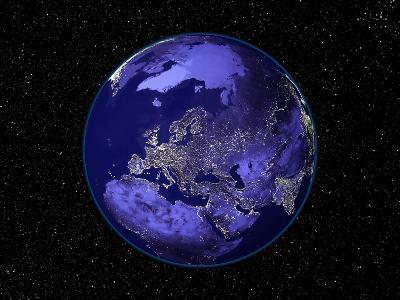 City Lights in Dark View of Europe