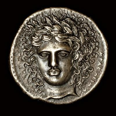 Ancient Greek Silver Tetradrachm with Head of Apollo