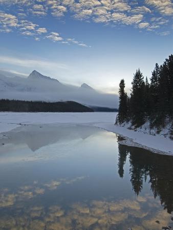 Maligne Lake, at First Light Near Jasper, Alberta, Canada.