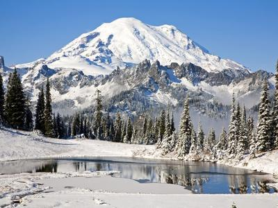 First winter snow at Mount Rainier and Tipsoo Lake, Mount Rainier National Park, Washington State