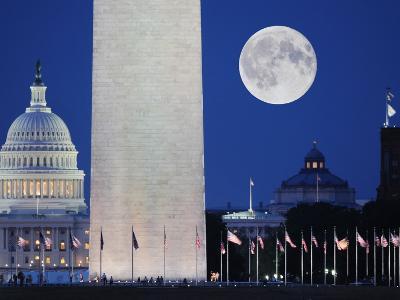Moon over mall in Washington D.C.