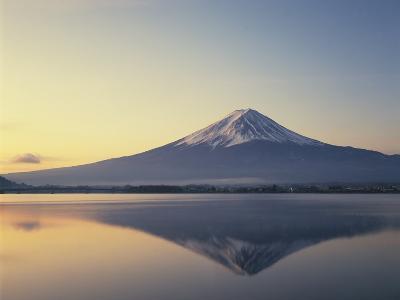 Mt. Fuji reflected in lake, Kawaguchiko, Yamanashi Prefecture, Japan