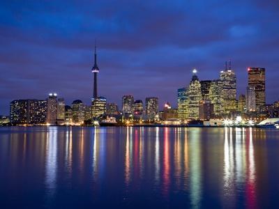 View of Toronto Skyline at Night from 'The Docks', Toronto, Ontario, Canada.