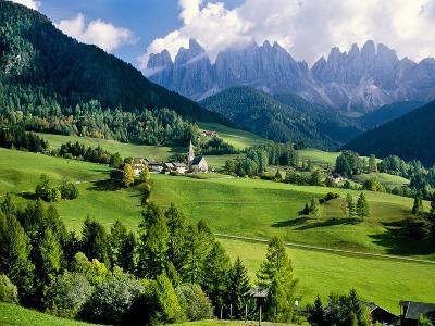 Santa Maddalena church in the Dolomites Mountains