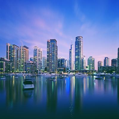 Skyline and boats on Dubai Marina