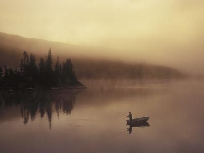 Fishing, Little Charlotte Lake, Chilcotin Region, British Columbia, Canada.