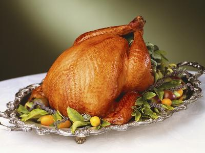 Whole Roast Turkey on Silver Platter