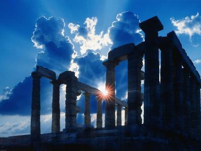 Sun Behind Temple of Poseidon