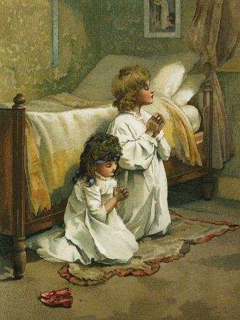 Book Illustration of Children Praying by Lizzie Lawson