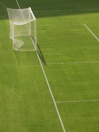 Goal and Net on Empty Soccer Field