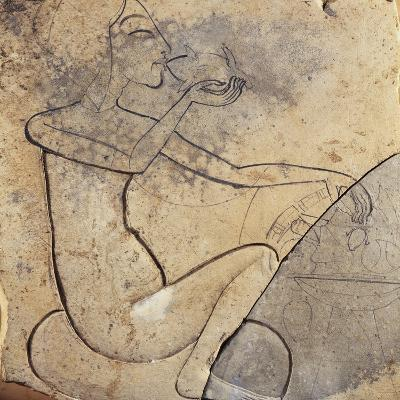 Sunk Relief of Egyptian Princess Eating a Duck