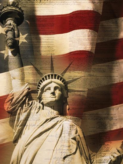 Statue Of Liberty And American Flag Photographic Print By