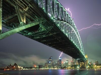 Bridge and Lightning at Sydney Harbour
