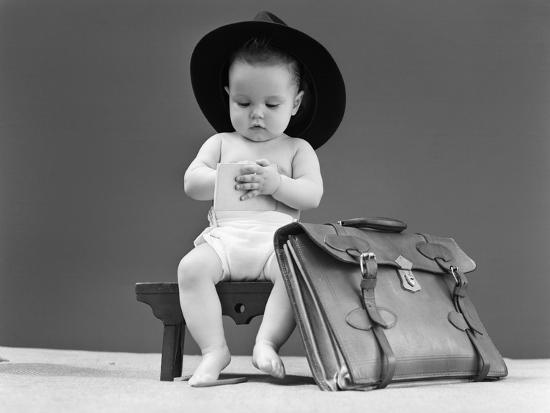 1940s Baby in Fedora Seated on Stool Writing in Notebook with Briefcase at  Side Photographic Print at AllPosters.com 0b80106ff36