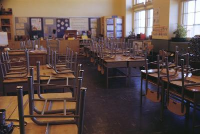 Classroom with Chairs on Desks