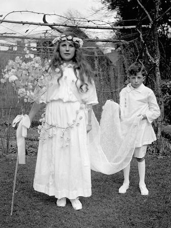 Young Girl and Attending Young Boy, Ca. 1900