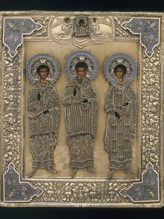 Russian Icon with Saint Gurii, Saint Samon, and Saint Aviv