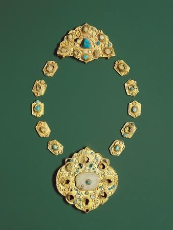 Pieces of a Gold Necklace with Grey Chalcedony, Turquoise, and Glass