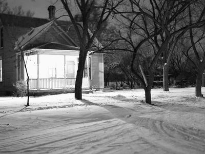 Lighted South Dakota Porch in Winter