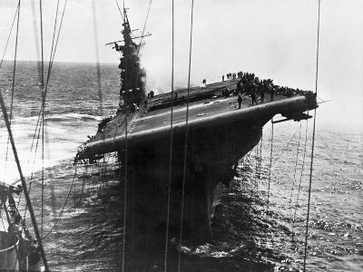 Damaged U.S. Aircraft Carrier Franklin