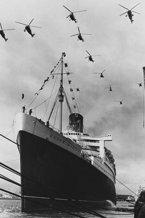 Helicopters Fly over the Queen Mary