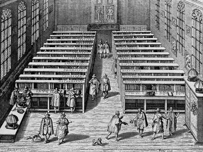 Seventeenth Century Engraving Interior of the Leiden Library