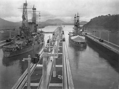 U. S. S. Missouri and U. S. S. Ohio at the Panama Canal