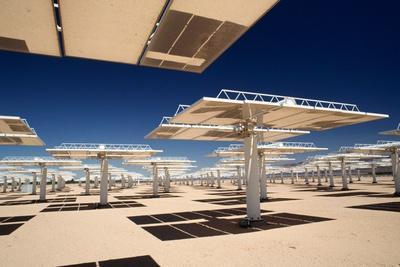 Solar Power Reflectors at Solar Power Plant