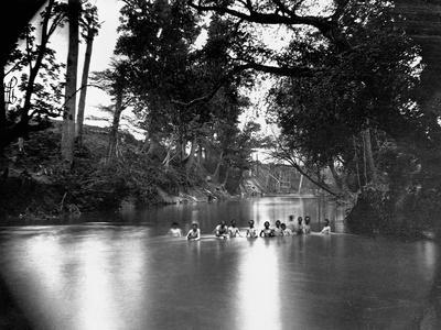 Civil War Soldiers Bathing in a River