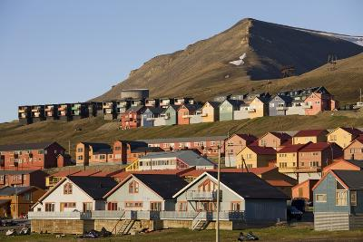 Town of Longyearbyen in Setting Midnight Sun
