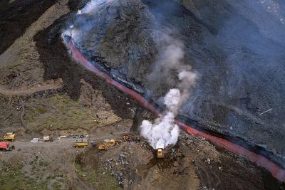 Firefighters Divert Lava Flow
