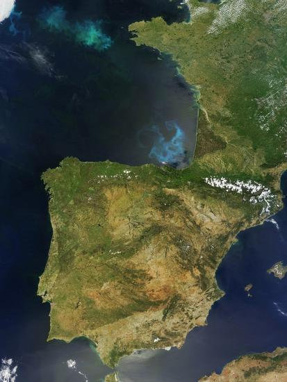 Satellite Map Of Spain.Satellite View Of Spain Portugal And The Iberian Peninsula