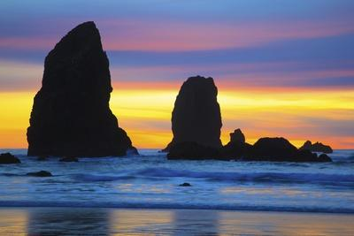 Sunset at Low Tide, Needles, Canon Beach, Oregon Coast