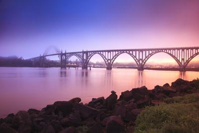 Sunrise Thru Fog, Newport Bridge, Oregon Coast. Pacific Northwest, United States