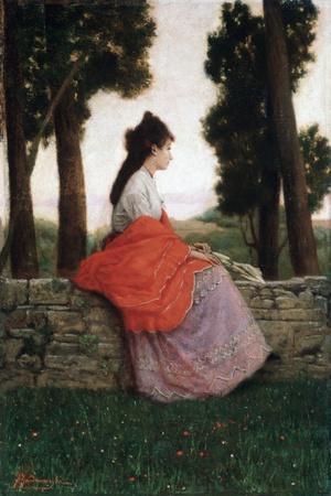 Young Lady Waiting for Something by Federico Zandomeneghi