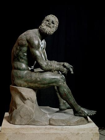Defeated Boxer Resting after a Fight - Bronze Sculpture