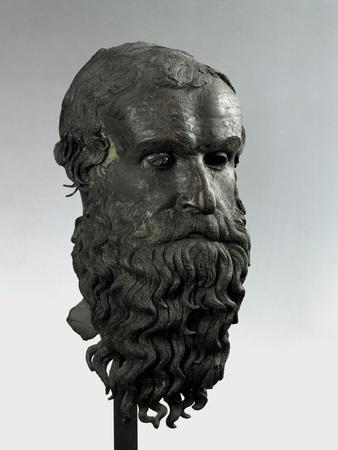 Ancient Greek Bronze Head of an Old Man with Long Beard (Philosopher of Porticello)