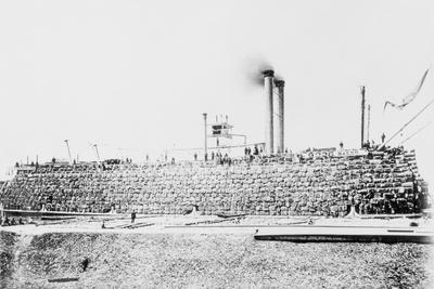 Cotton Bales Loaded on Mississippi Steamboat