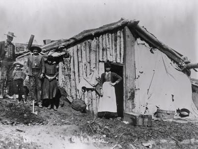 African American Family and Log Cabin