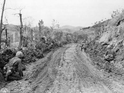 American Soldiers Kneeling on Side of Road in Okinawa