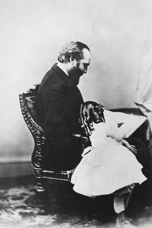 James Garfield Reading Book with Young Girl