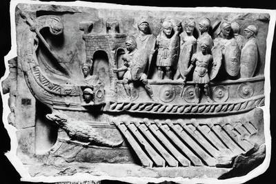 Roman Relief Sculpture with Soldiers on Boat