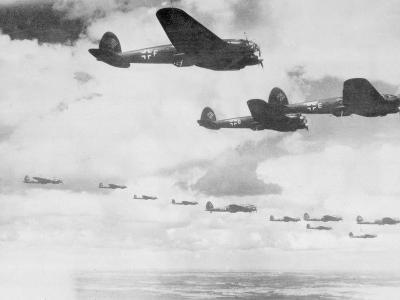 German Bombers in Flight over English Channel